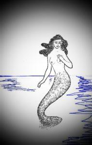 mermaid on blue